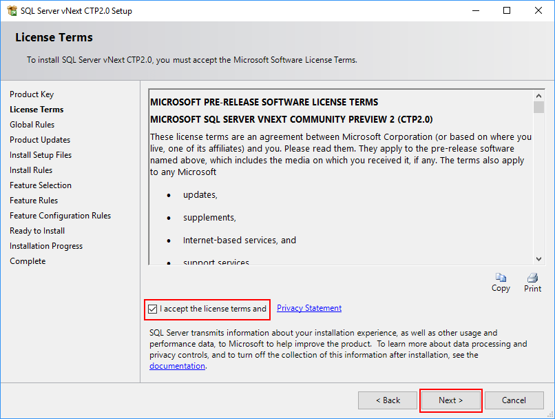 SQL Server 2019 Setup - License Terms