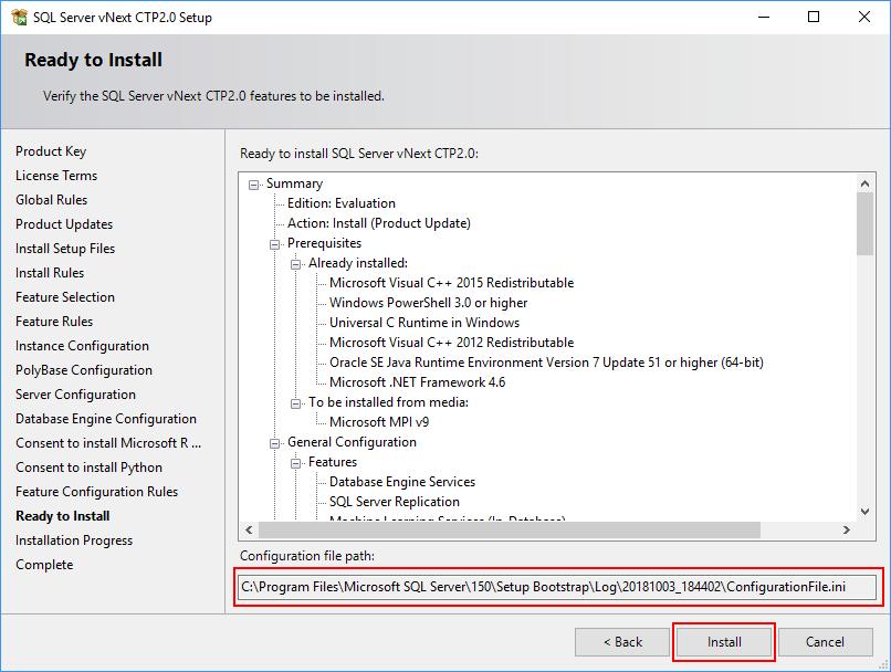 SQL Server 2019 Setup - Ready to install