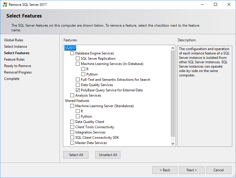 Uninstall SQL Server feature - select features