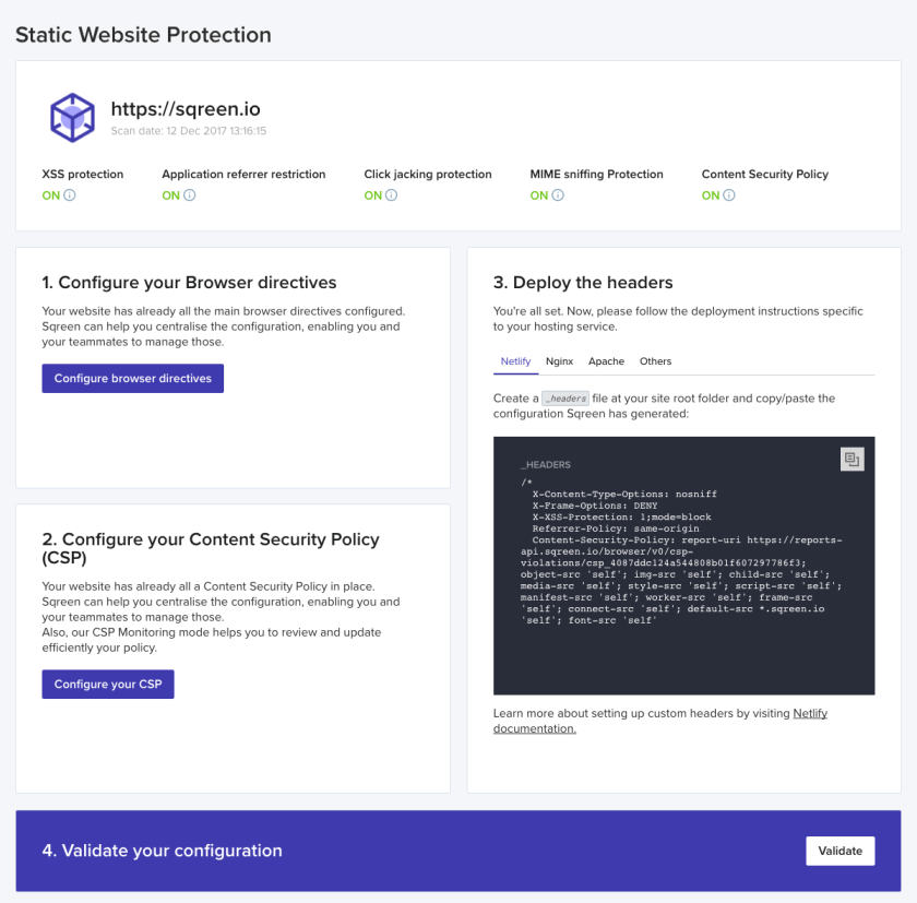 Sqreen Dashboard for SPA / Static websites