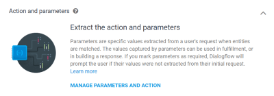 Manage parameters and action button