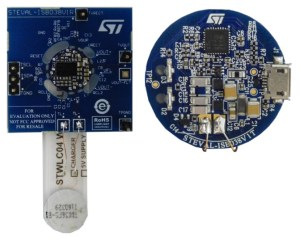 STEVAL-ISB038V1 with the STWLC04 demo board (left) and STWBC-WA demo board (right) (Click to Enlarge)