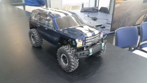 The remote-controlled car fully assembled