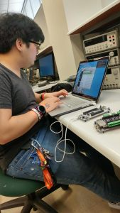 A member of the Hornet Hyperloop team developing an application using our NUCLEO-F746ZG and X-NUCLEO-IKS01A1