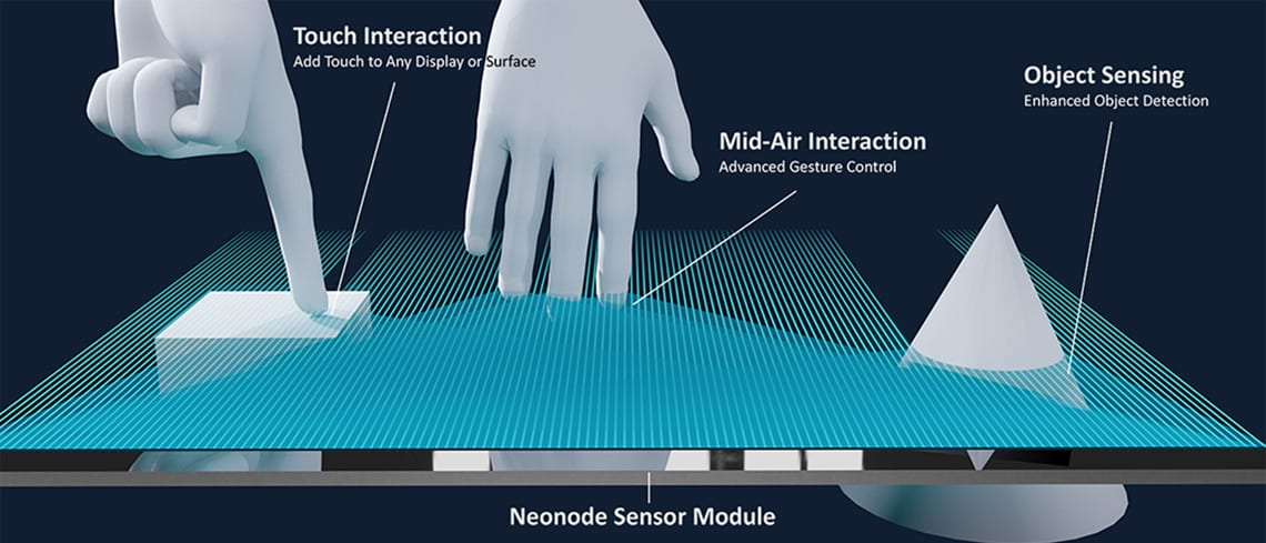 A neonode sensor detecting fingers and objects