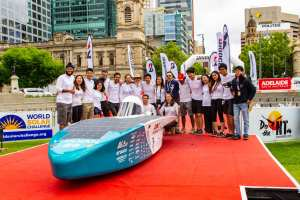 The Blue Sky Solar Racing team after crossing the finish line in Adelaide, Australia
