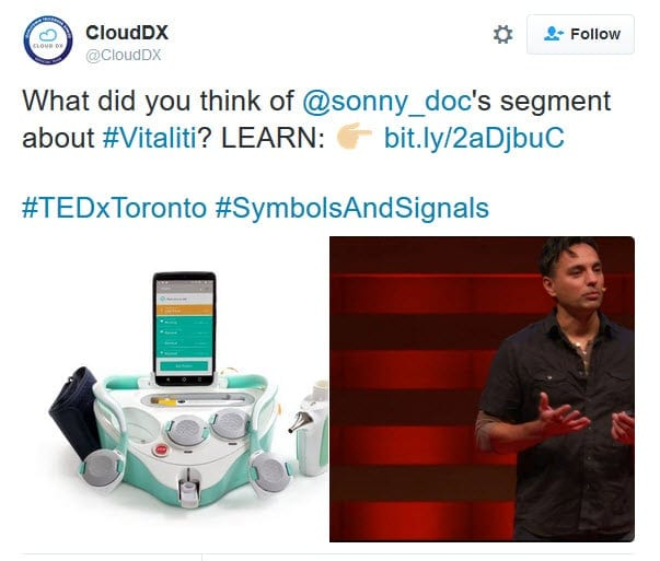 Tweet about Dr. Sonny Kohli at TEDxToronto 2016