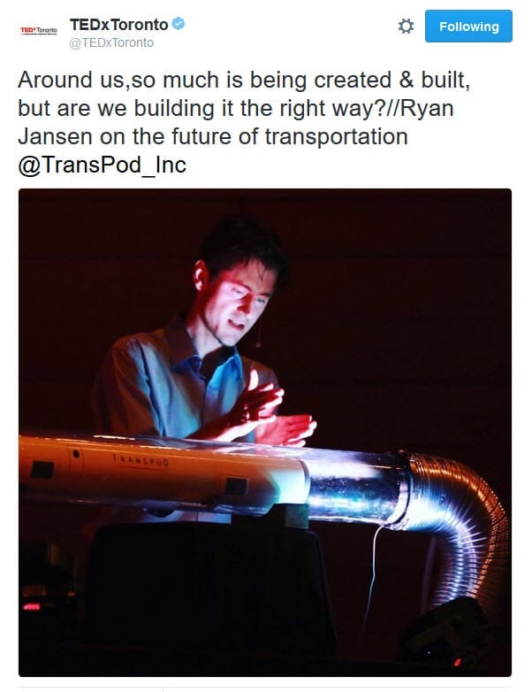 Tweet: Ryan Janzen of Transpod demonstrates the Hyperloop