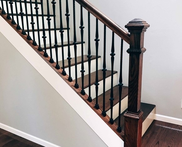 Satin Black Contemporary Rectangle Stair Wrought Iron Balusters | Iron Spindles For Staircase | Simple | Modern 2019 Staircase | Farmhouse Style | Arched Metal | Basket