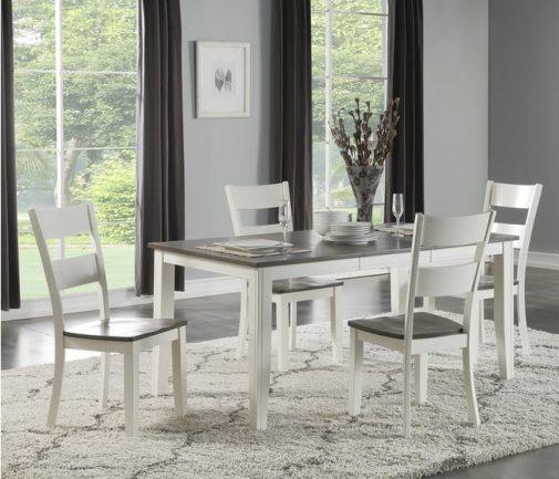 Madera White & Grey 5-Piece Leg Dining Set