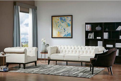 Drexler Transitional White Sofa