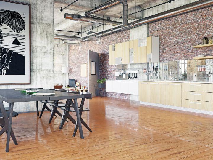 cozinha de loft industrial