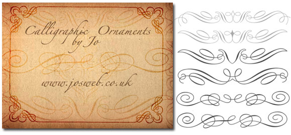 calligraphy, ornaments, border, post divider, free brushes,