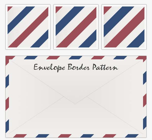 air mail emvelope, envelope border pattern, red white blue stripe pattern,