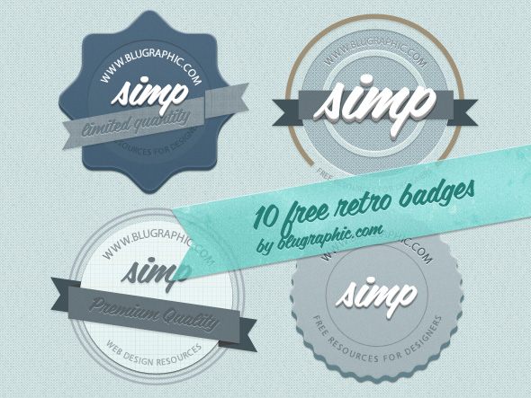 free badges, free retro PSD, free retro badges PSD, vintage ribbons, vintage badges psd