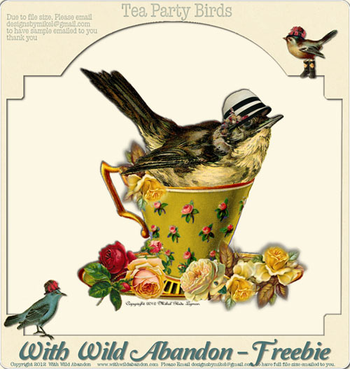 vintage clip art, vintage clipart, tea cup, tea party, vintage bird illustration