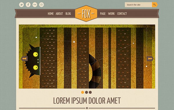 free vintage website template psd, cool vintage retro psd template