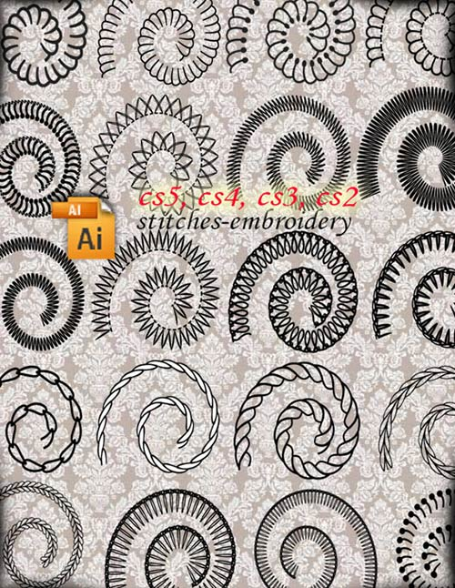 Free Embroidery Stitches Vector Brushes