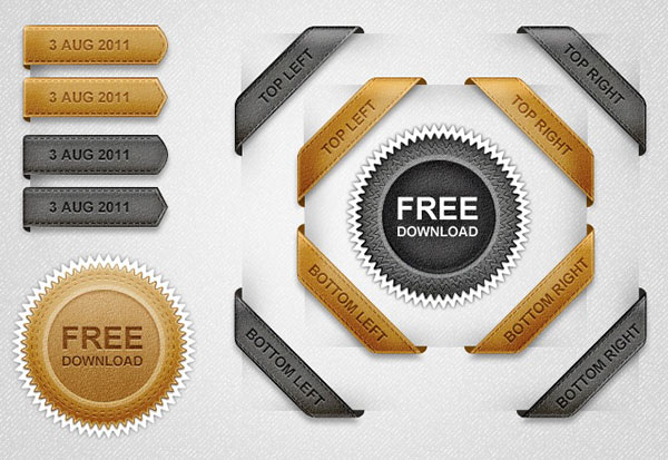 Free Leather Ribbons Corners Vintage Seal PSD