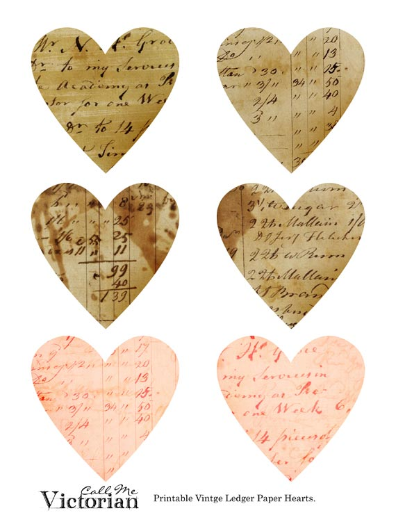 free vintage ledger paper valentine hearts