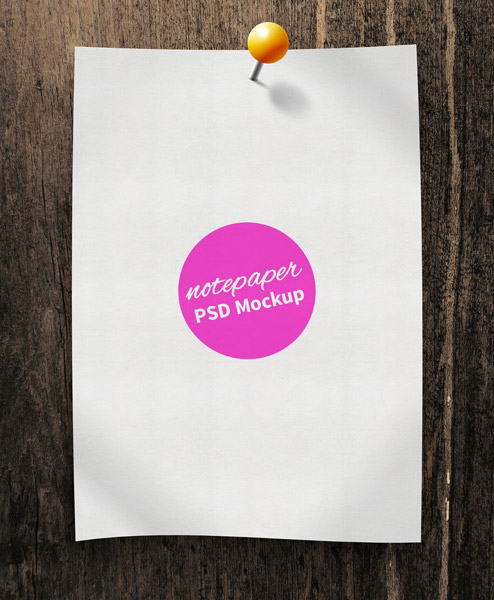 Free Note Paper PSD Mockup