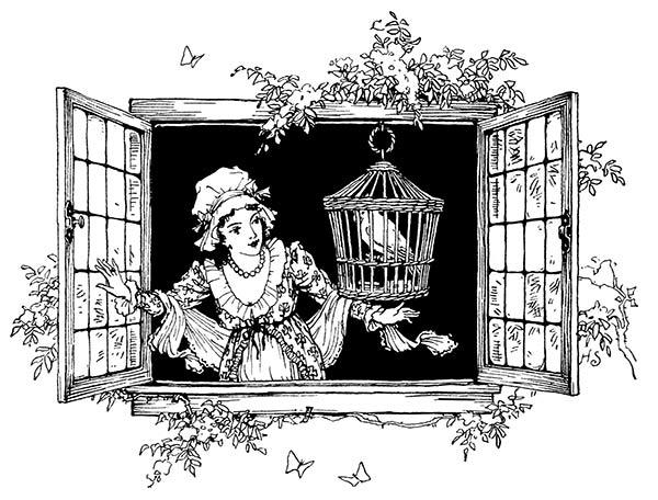 vintage clipart, bird cage clipart, women clipart