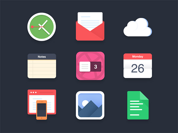 flat design, free icons, clock icon, notes icon, mobile icons