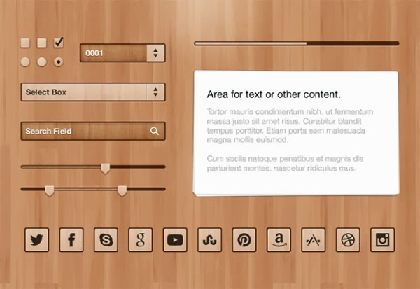 Free Wood UI Kit PSD Template