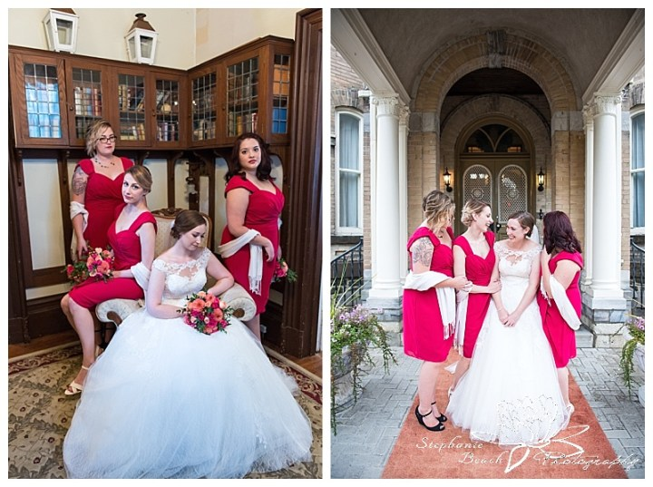 Perth-Manor-Wedding-Stephanie-Beach-Photography-Bride-Bridesmaids-Library-Archway-laughing-casual-vogue