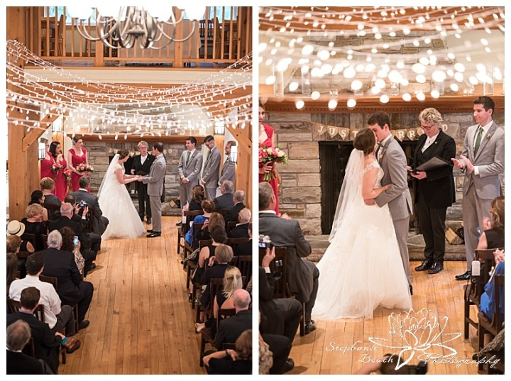 Temples-Sugar-Bush-Wedding-ceremony-indoors-twinkle-lights-first-kiss