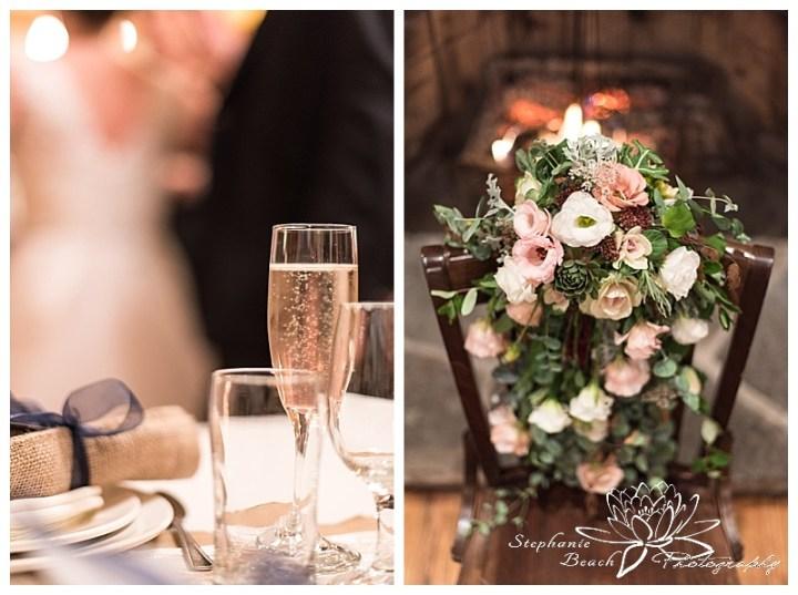temples'-sugar-bush-wedding-stephanie-beach-photography-reception-cheers-toast-flowers-bouquet-cascading