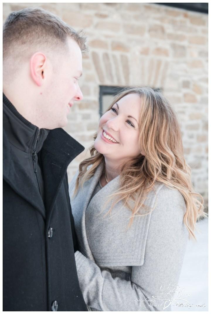 Merrickville-Winter-Engagement-Session-Stephanie-Beach-Photography-Christmas-portrait-stone-building-ruins
