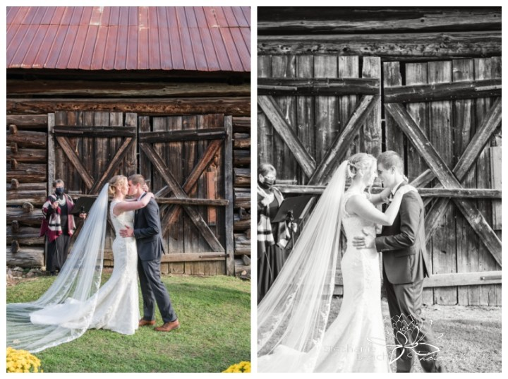 Ottawa-Fall-Backyard-Wedding-Stephanie-Beach-Photography-first-kiss-ceremony