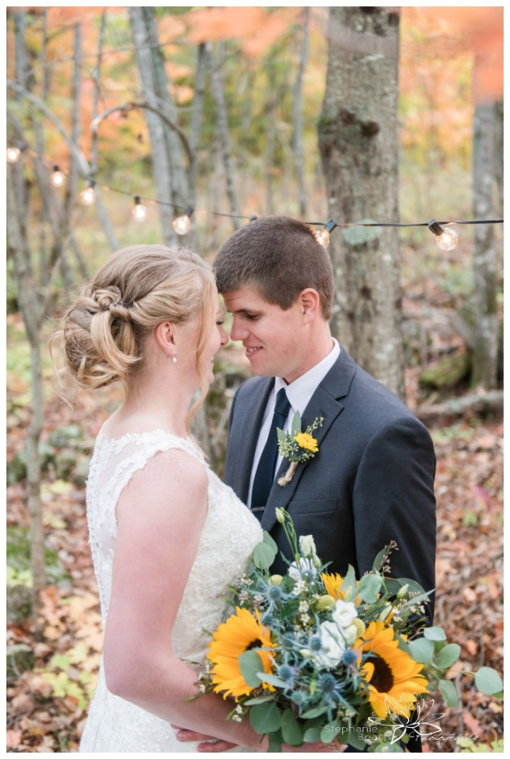 Ottawa-Fall-Backyard-Wedding-Stephanie-Beach-Photography-sunflower-bouquet-edison-bulbs