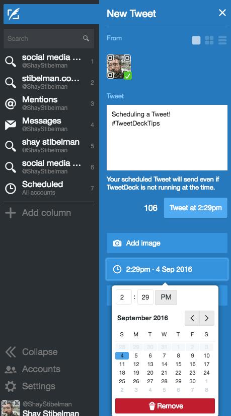 Scheduling a Tweet with TweetDeck