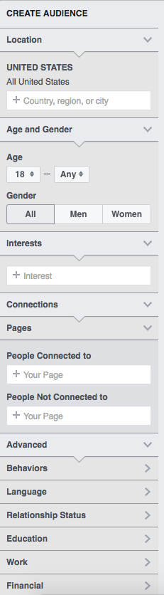 Facebook Audience Insights tool sidebar
