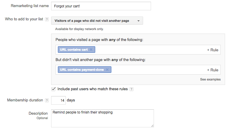 AdWords - filling the remarketing list form