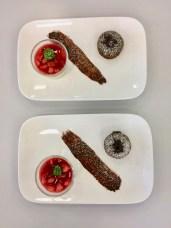 Gebackene Schokolade und Panne cotta