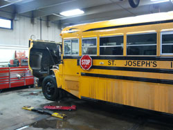 St. Joseph's bus is in the shop for a tune up.