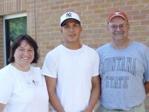 St. Joseph's alumnus Leighton returns to visit with current Lakota students.