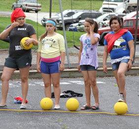 The Lakota students love playing outdoor games at day camp!