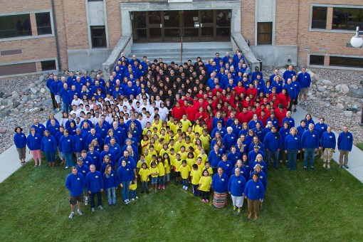 The Lakota students and St. Joseph's staff members gathered for a Morning Star group picture.