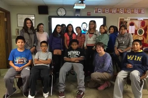 Visitors from France spent time in our Native American Studies class.