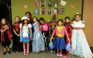 Lakota (Sioux) students dressed up.