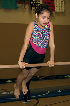St. Joseph's girls have the opportunity to participate in gymnastics each winter.