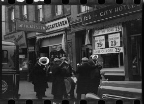 Photo: Street Band in NYC, December 1937, by Arthur Rothstein