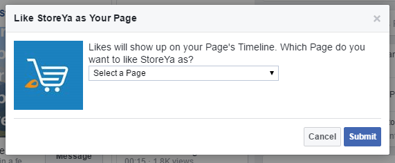 how to like a page on Facebook as your own page