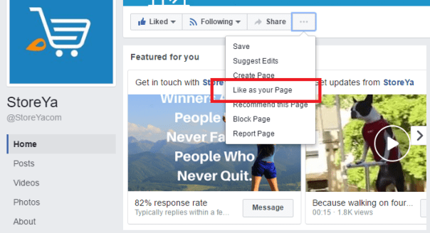 how to like a Facebook page as your own page