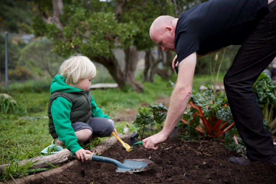 A teacher teaching a child gardening