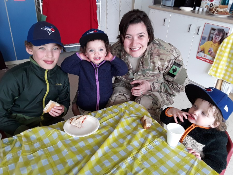 Military Mom with her children